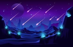 meteorenregen in de atmosfeer vector