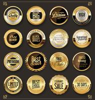 Retro uitstekende zwarte en gouden insignes en etiketteninzameling