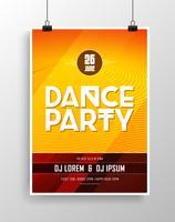 Vector dance party flyer design met opvallende achtergrond.