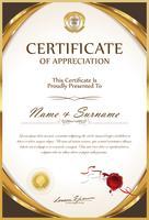 Certificaat of diploma retro sjabloon vector