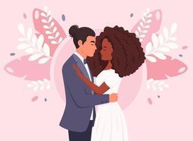 basis bruidspaar. man en zwarte vrouw gaan trouwen, pasgetrouwden. bruiloft portret. multiculturele familie. vector