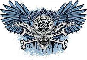 gotisch bord met schedel en blauwe vleugels, grunge vintage design t-shirts vector