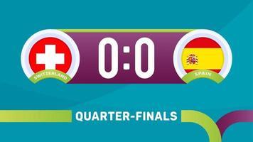zwitserland vs spanje wedstrijd vector illustratie voetbal 2020 kampioenschap