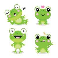 set van kleine kikkers in cartoon-stijl. vector