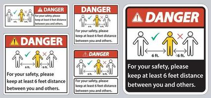 gevaar houd 6 voet afstand, voor uw veiligheid, houd alsjeblieft ten minste 6 voet afstand tussen u en anderen. vector