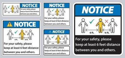 knotice eep 6 voet afstand, houd voor uw veiligheid ten minste 6 voet afstand tussen u en anderen. vector