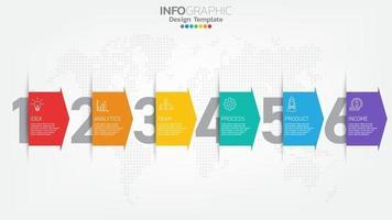 infograph stappen kleur element met pijl, grafiek diagram, business online marketing concept. vector