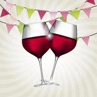 vol glas rode wijn op swirl achtergrond vectorillustratie vector