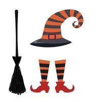 heksenoutfit, hoedenschoenen en bezem voor halloween, cartoonstijl, geïsoleerde vector