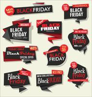 Verzameling van Black Friday-verkoopkorting en promotiebanners en etiketten