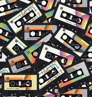 Retro uitstekende naadloze achtergrondvector van de cassetteband