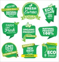 Verzameling van labels met natuurlijke biologische producten