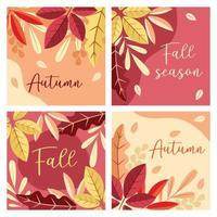 herfst seizoen kaartenset vector