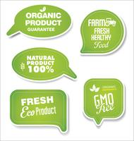 Natuurlijke organische producten groene inzameling van etiketten en kentekens