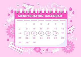 menstruatieperiode kalender vrouwen om de illustratie van de datumcyclus te controleren vector