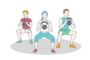 training en gewichtheffen oefening vector