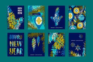 Set van artistieke creatieve Merry Christmas en Nyew Year kaarten.