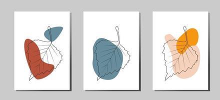 een set posters van modieuze moderne abstracte composities gemaakt van vlekken en bladeren vector