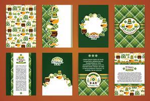 Saint Patrick's Day achtergronden. Vector ontwerpsjablonen collectie