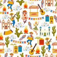 Latijns-Amerikaanse vakantie, het junifeest van Brazilië. Naadloos patroon.