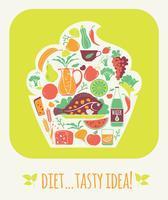 Vector illustratie smakelijke voeding.
