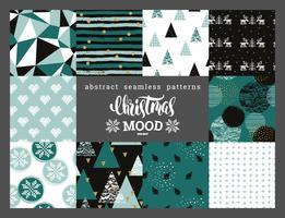 Kerstmis en Nieuwjaar abstracte geometrische sier naadloze patronen. vector