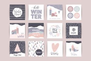 Set van artistieke creatieve winterkaarten.