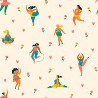Happy plus size meisjes en actieve levensstijl. Vector naadloos patroon.