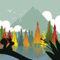 een herfst seizoen landschap vector