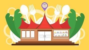 padang restaurant spot concept met traditioneel gadang landmark huis. platte cartoon stijl ontwerp. rendang vlees sumatra indonesisch eten. vectorillustratie. vector
