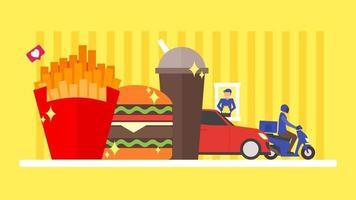 fastfood-concept. bezorgen en rijden door afhaalmaaltijden. hamburger, hamburger, maaltijd, frietjes, frisdrankillustratie. platte ontwerp achtergrond. kleine mensen karakter vectorillustratie. vector