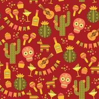 Vector naadloos patroon met traditionele Mexicaanse symbolen.