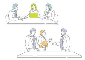 zakenmensen in vergadering. gemakkelijk te gebruiken eenvoudige, platte vector illustratie set geïsoleerd op een witte achtergrond.