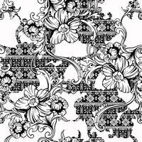 Eclectisch stoffen naadloos patroon. Etnische achtergrond met barok ornament. vector
