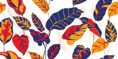 tropisch bos art deco behang. bloemmotief met exotische bloemen en bladeren, gespleten blad philodendron plant, monstera plant, jungle planten lijntekeningen op trendy achtergrond. vectorillustratie. vector