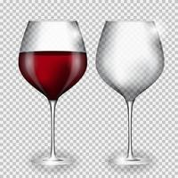 vol en leeg glas wijn vector