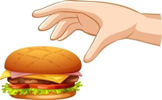hand die hamburger op witte achtergrond probeert te grijpen vector