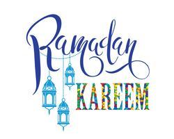Ramadan Kareem. Belettering ontwerp. vector