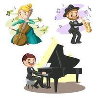 set van muzikant band van klassieke muziek in cartoon vector