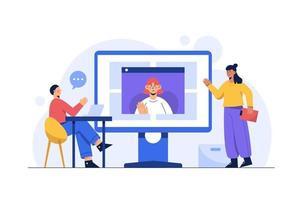 thuis en overal werken, videoconferentie, online vergadering, online vergaderen met teleconferentie en videoconferentie. zakelijk financieel concept vector