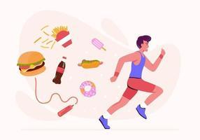 mannen doen aan hardlopen om calorieën te verbranden uit eten en snacks. vector