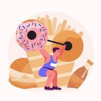 mannen trainen met gewichten om calorieën uit voedsel en snacks te verbranden vector