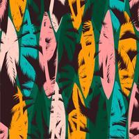 Naadloos exotisch patroon met tropische palmen en artistieke achtergrond.