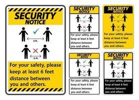 veiligheidsmededeling houd 1,8 meter afstand, voor uw veiligheid, houd ten minste 1,8 meter afstand tussen u en anderen. vector