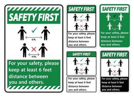 veiligheid eerst 6 voet afstand houden, voor uw veiligheid, ten minste 6 voet afstand houden tussen u en anderen. vector