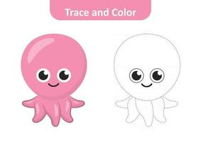 traceren en kleuren voor kinderen, octopus vector
