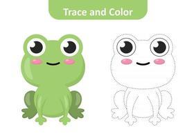 traceren en kleuren voor kinderen, kikker vector