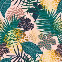 Trendy naadloos exotisch patroon met palm, dierlijke af: drukken en hand getrokken texturen.