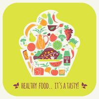 Vectorillustratie van gezond voedsel.