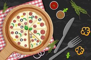 bovenaanzicht van een hele pizza met pepperoni-topping op de tafelachtergrond vector